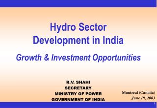 Hydro Sector  Development in India Growth & Investment Opportunities