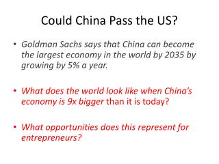 Could China Pass the US?
