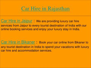 Car Hire in Rajasthan