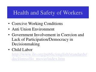 Health and Safety of Workers