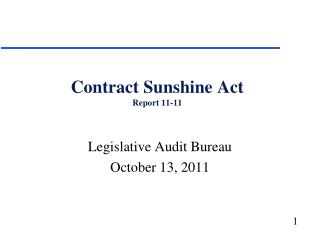 Contract Sunshine Act Report 11-11