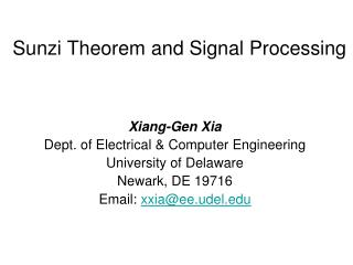 Sunzi Theorem and Signal Processing