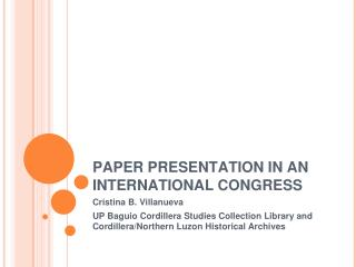 PAPER PRESENTATION IN AN INTERNATIONAL CONGRESS