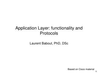 Application Layer: functionality and Protocols