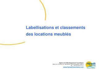 Labellisations et classement des meublés de tourisme dans l'Hérault