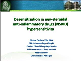 Desensitization in non-steroidal  anti-inflammatory drugs (NSAID) hypersensitivity