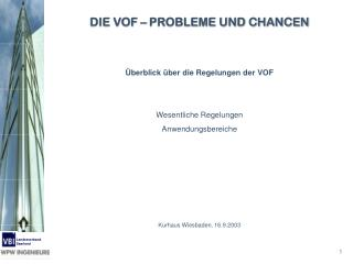 DIE VOF – PROBLEME UND CHANCEN