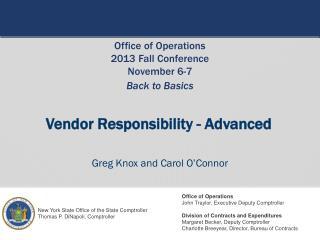 Vendor Responsibility - Advanced