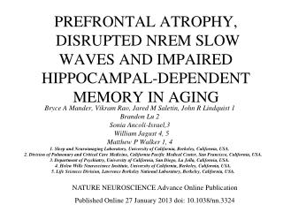 PREFRONTAL ATROPHY,  DISRUPTED NREM SLOW WAVES AND IMPAIRED HIPPOCAMPAL-DEPENDENT MEMORY IN AGING