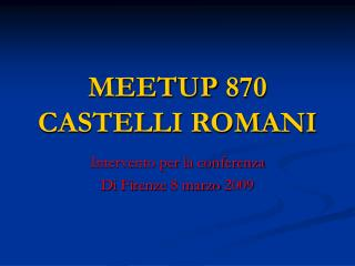MEETUP 870 CASTELLI ROMANI
