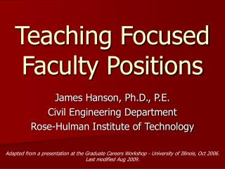 Teaching Focused Faculty Positions