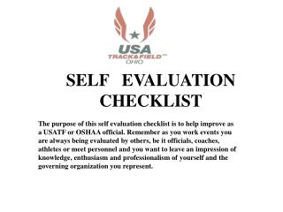SELF   EVALUATION CHECKLIST