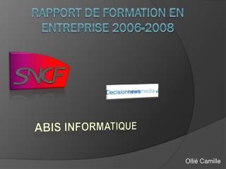 Rapport de formation en entreprise 2006-2008