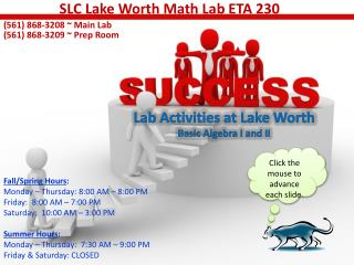 Lab Activities at Lake Worth Basic Algebra I and II