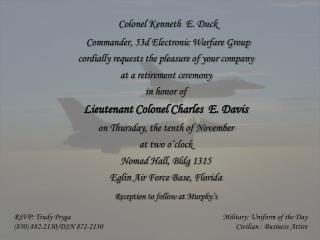 Colonel Kenneth  E. Duck Commander, 53d Electronic Warfare Group