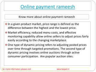 Feepal give batter services of online payment rameesh