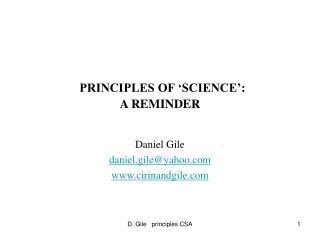 PRINCIPLES OF  SCIENCE : A REMINDER