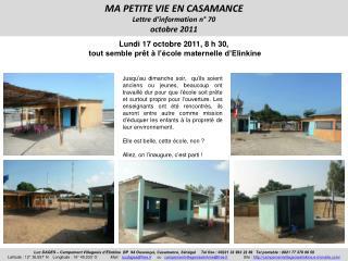 MA PETITE VIE EN CASAMANCE Lettre d'information n° 70 octobre 2011