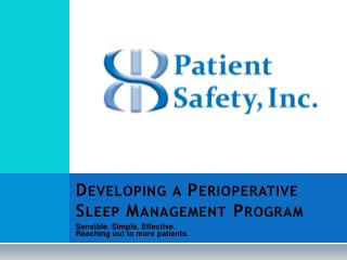 Developing a Perioperative Sleep Management Program
