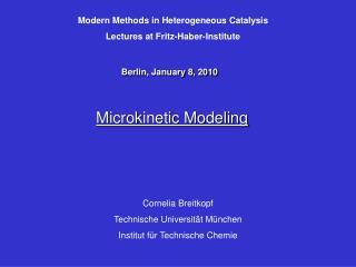 Microkinetic Modeling