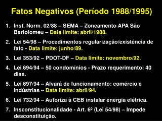 Fatos Negativos (Período 1988/1995)