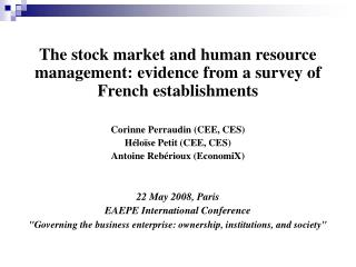 The stock market and human resource management: evidence from a survey of French establishments