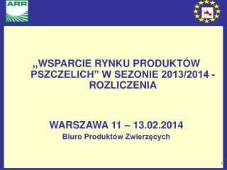 """,,WSPARCIE RYNKU PRODUKTÓW PSZCZELICH"""" W SEZONIE 2013/2014 - ROZLICZENIA WARSZAWA 11 – 13.02.2014"""