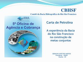 CBHSF Comitê da Bacia Hidrográfica do Rio São Francisco