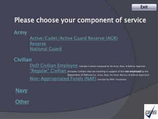Please choose your component of service