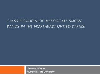 CLASSIFICATION OF MESOSCALE SNOW BANDS IN THE NORTHEAST UNITED STATES.