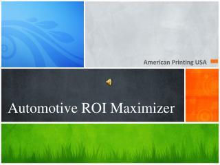 Automotive ROI  Maximizer