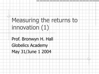 Measuring the returns to innovation (1)