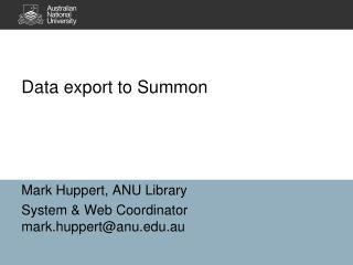 Data export to Summon