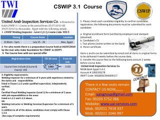 CSWIP 3.1  Course