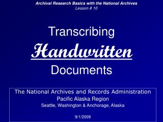 Transcribing  Handwritten Documents