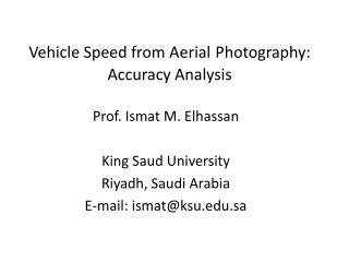 Vehicle Speed from Aerial Photography: Accuracy Analysis