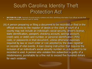 South Carolina Identity Theft Protection Act