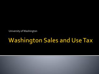 Washington Sales and Use Tax