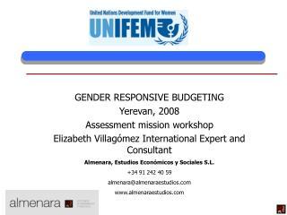 GENDER RESPONSIVE BUDGETING Yerevan, 2008 Assessment mission workshop