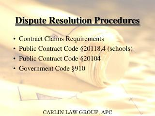 Dispute Resolution Procedures