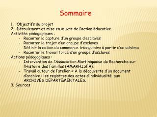 Sommaire Objectifs du projet Déroulement et mise en œuvre de l'action éducative
