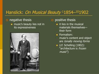 Hanslick:  On Musical Beauty 1 1854– 10 1902