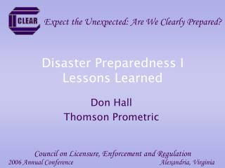 Disaster Preparedness I Lessons Learned