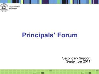 Principals' Forum