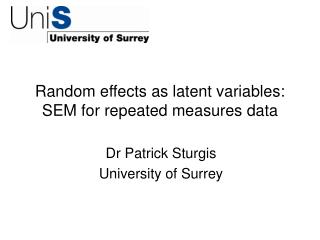 Random effects as latent variables: SEM for repeated measures data