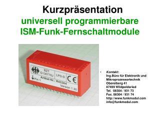 universell programmierbare  ISM-Funk-Fernschaltmodule