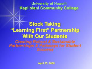 University of Hawai'i  Kapi'olani Community College