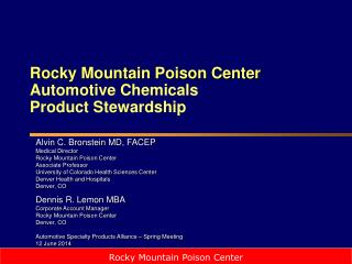 Rocky Mountain Poison Center Automotive Chemicals  Product Stewardship