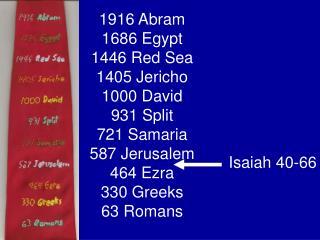 1916 Abram 1686 Egypt 1446 Red Sea 1405 Jericho 1000 David 931 Split 721 Samaria 587 Jerusalem