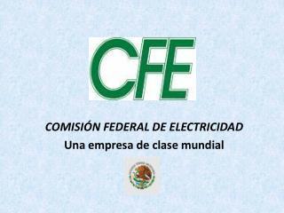 COMISIÓN FEDERAL DE ELECTRICIDAD Una empresa de clase mundial